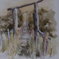 """just a farm bridge""  in watercolour"