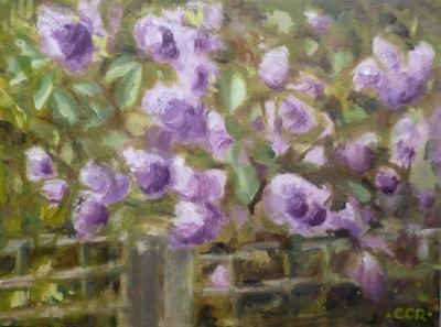 "Next door's lilac blossom 6"" X 8"" oil on board, en plein air"