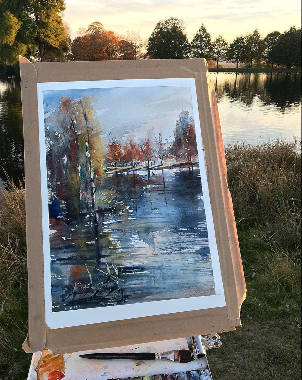 Petworth Park Lake plein air watercolour