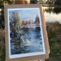 Petworth Park Lake plein air watercolour
