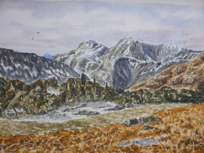 The Langdale Pikes. watercolour