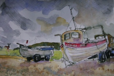 Fishing Boats, Weybourne sketch