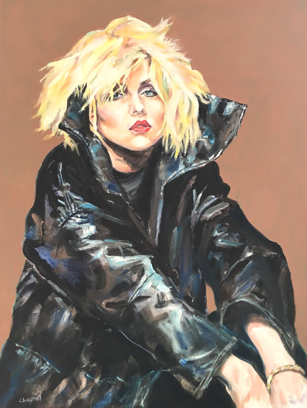 Debbie and black leather jacket
