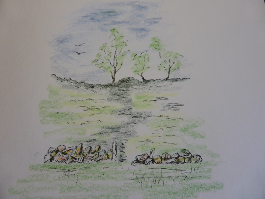 The Mound . Dip pen and Caran D'Ache colored pencils