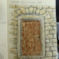Sketch Old Door in wall of Feldkirch castle Liechstenstien