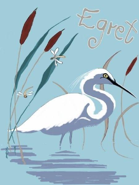 Bird Alphabet - Egret