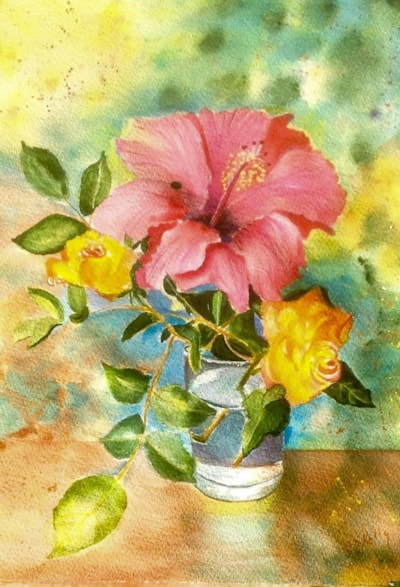 Hibiscus and Roses