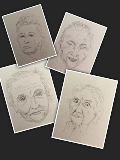 Quick sketches - old ladies