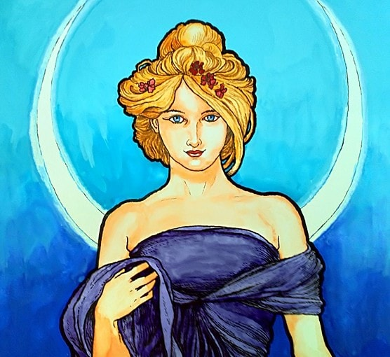 Mucha Style-14 x 11 inches-mixed media