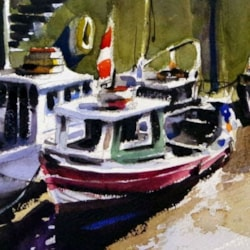 Close up of Newcastle fishing boats