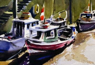 Close up of Newcastle fishing boats