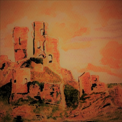 Corfe Castle at sunset