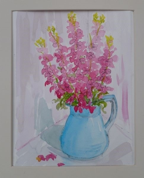 Pink Summer Stocks in a Blue Jug II