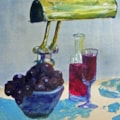 Grapes, bottle and glass