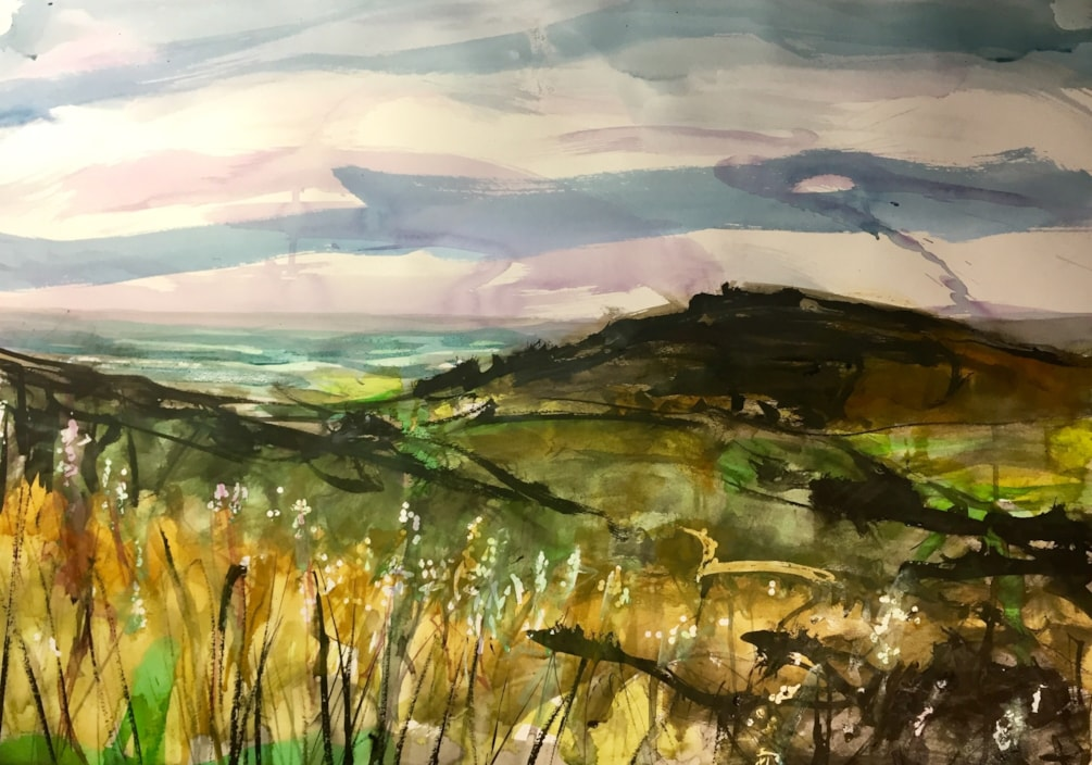 Tittersworth and the Roaches seen from Ramshaw rocks. Ink on A2