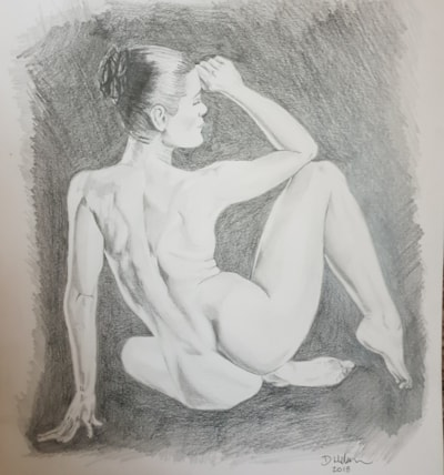 Sketch of a lady seated and nude.