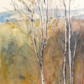 Silver Birches and the South Downs, watercolour 16 x 47cm