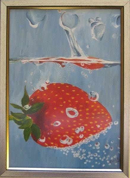 Strawberry plunged into water