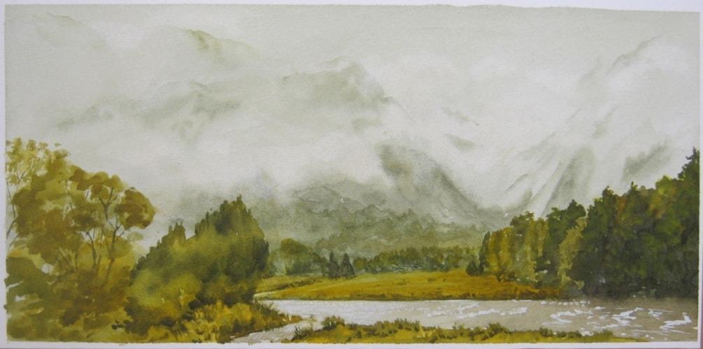 "West  Coast  , rain forecast "" 57 x 27 cms  in watercolour"