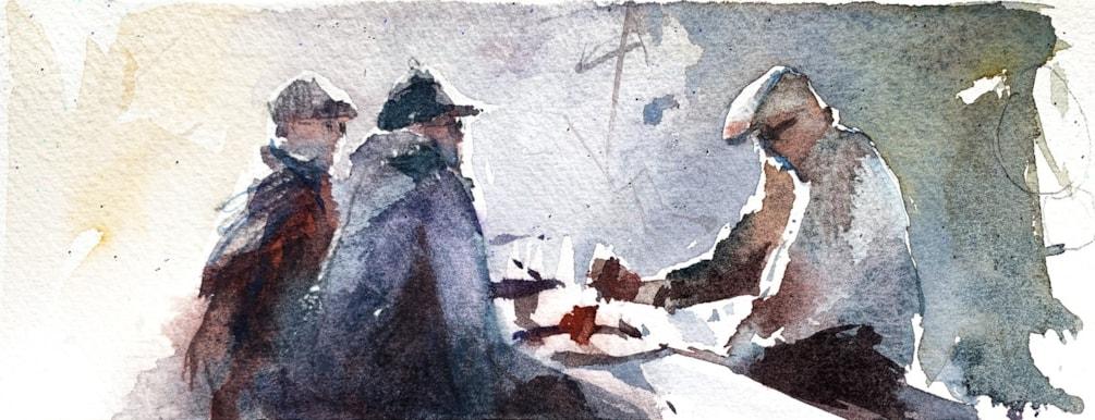Littlehampton Conversation, watercolour