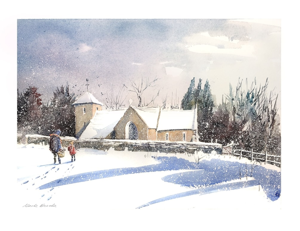 St Peter's Church in snow