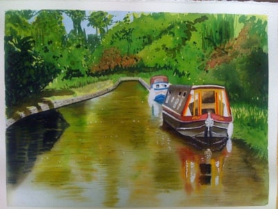 Canal boats in the Brecon Beacons