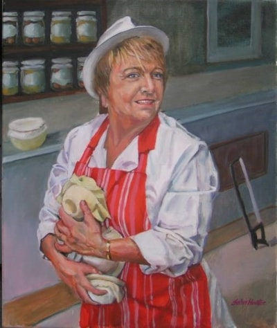 Maggie with the Pies, Oil, 60cmsx50cms