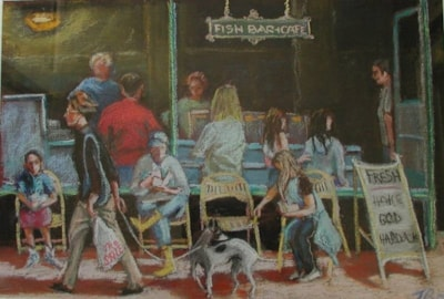 Fish And chips for all, Pastel 70cms x 50cms.