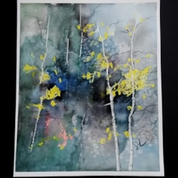 ORIGINAL painting watercolor painting Abstract WATERCOLOR Abstract Blue Trees