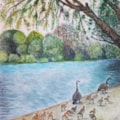 A4 Goose family in Rickmansworth Aquadome watercolour April 2020_4mp