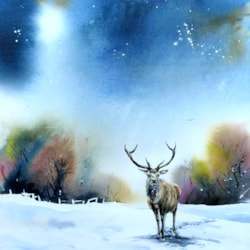 A Stag in Snow, watercolour by Graham Kemp.