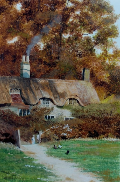 A cottage at Farringford after Helen Allingham