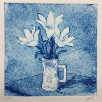 A little jug of tulips on blue by Margaret Mallows