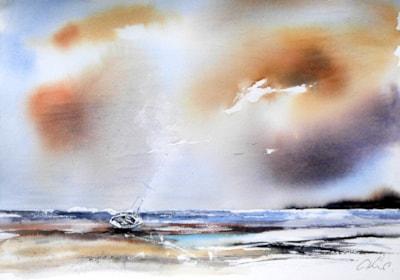 Alone again. watercolour by Graham Kemp.
