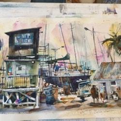 Amanda Brett watercolour artist bait & Ice Thames NZ final sm