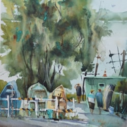 Amanda Brett watercolour green bucket en plein air small
