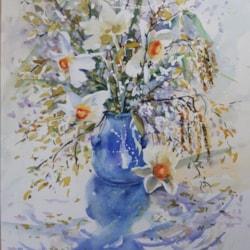 April flowers in a blue pot