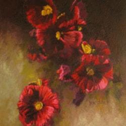 Arrangement of Hollyhocks, 12 x 14. oil on canvas, 2021 2362x2813