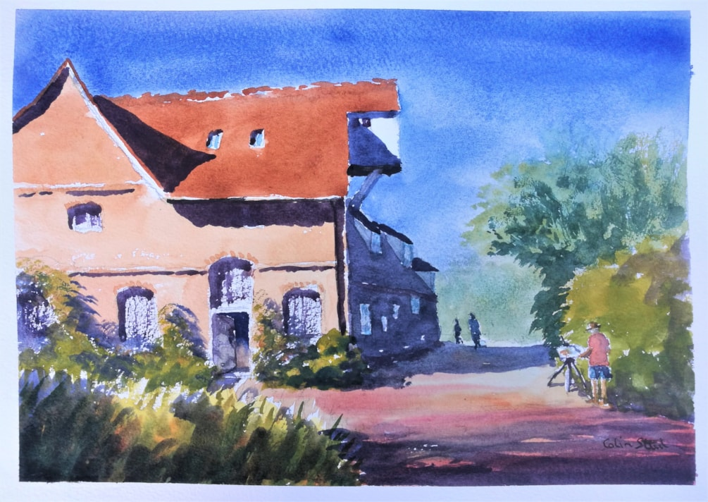 Artist Painting, Flatford Mill.
