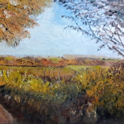 Autumn - The View fron Tin Hill, Nash - Oil on canvas board - Feb 18th 2021
