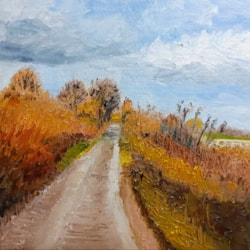Autumn Colours - The Lane at Churchbridge - Oil on canvas board - Feb 14th 2021