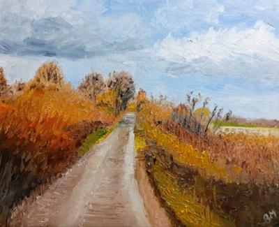 Autumn Colours - The Lane at Churchbridge - Oil on canvas board - Feb 14th 2021