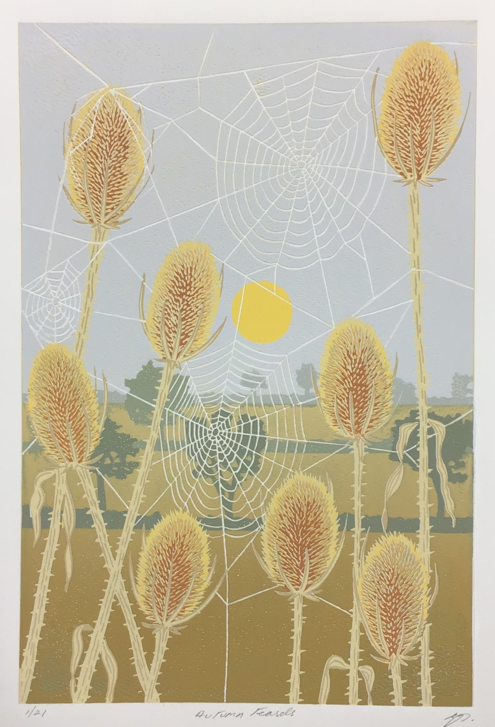 Autumn teasels by Margaret Mallows