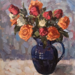 Blue Jug with Roses