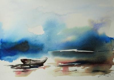 Blue, watercolour by Graham Kemp.