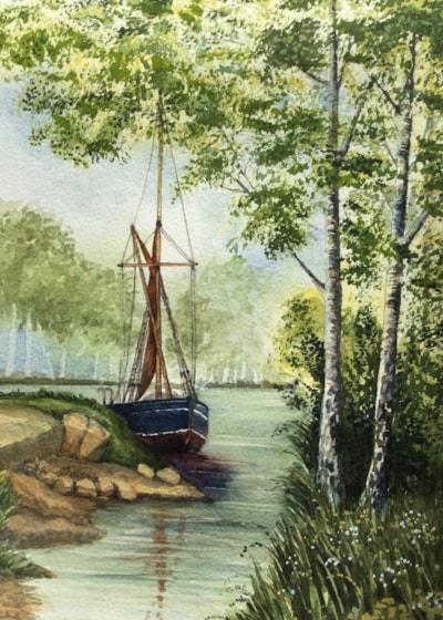 Boat w birches