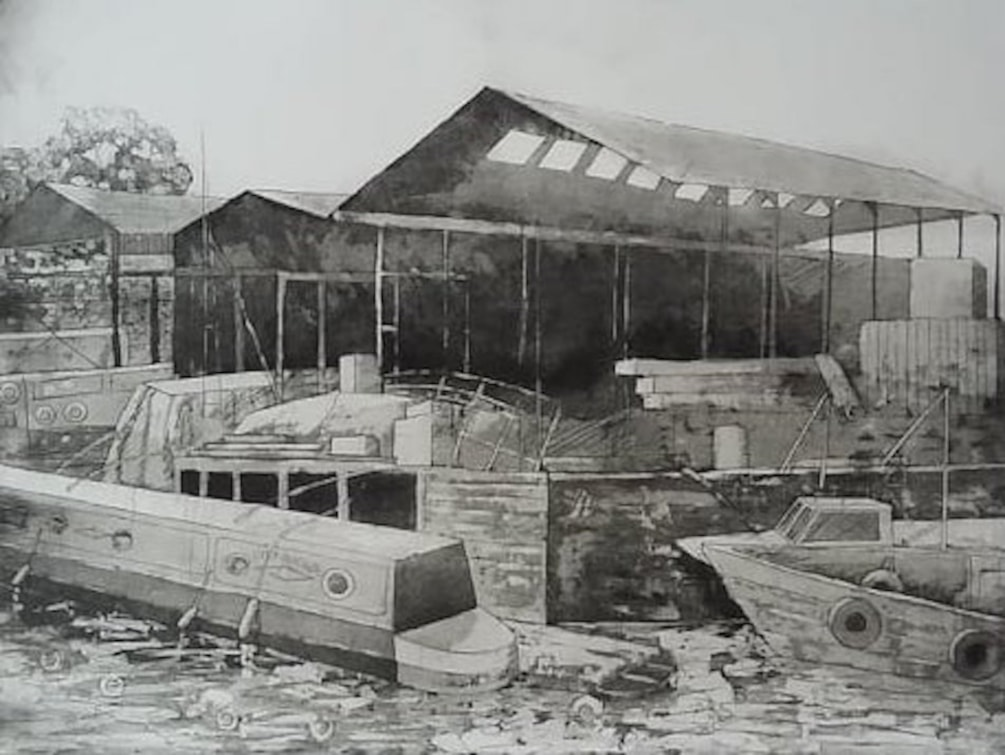 Brentford Boatyard etching