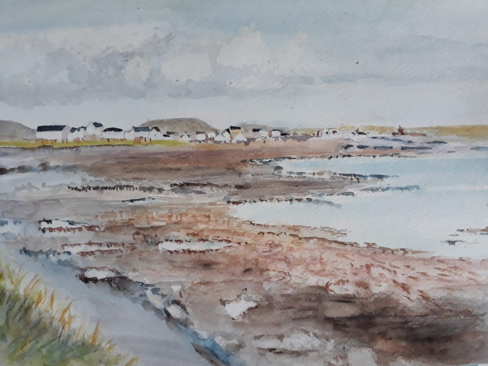 Castletown from Scarlett Point - Watercolour
