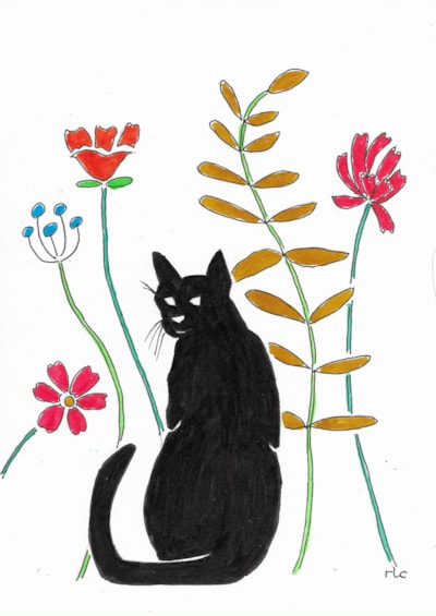 Cat and Wildflowers
