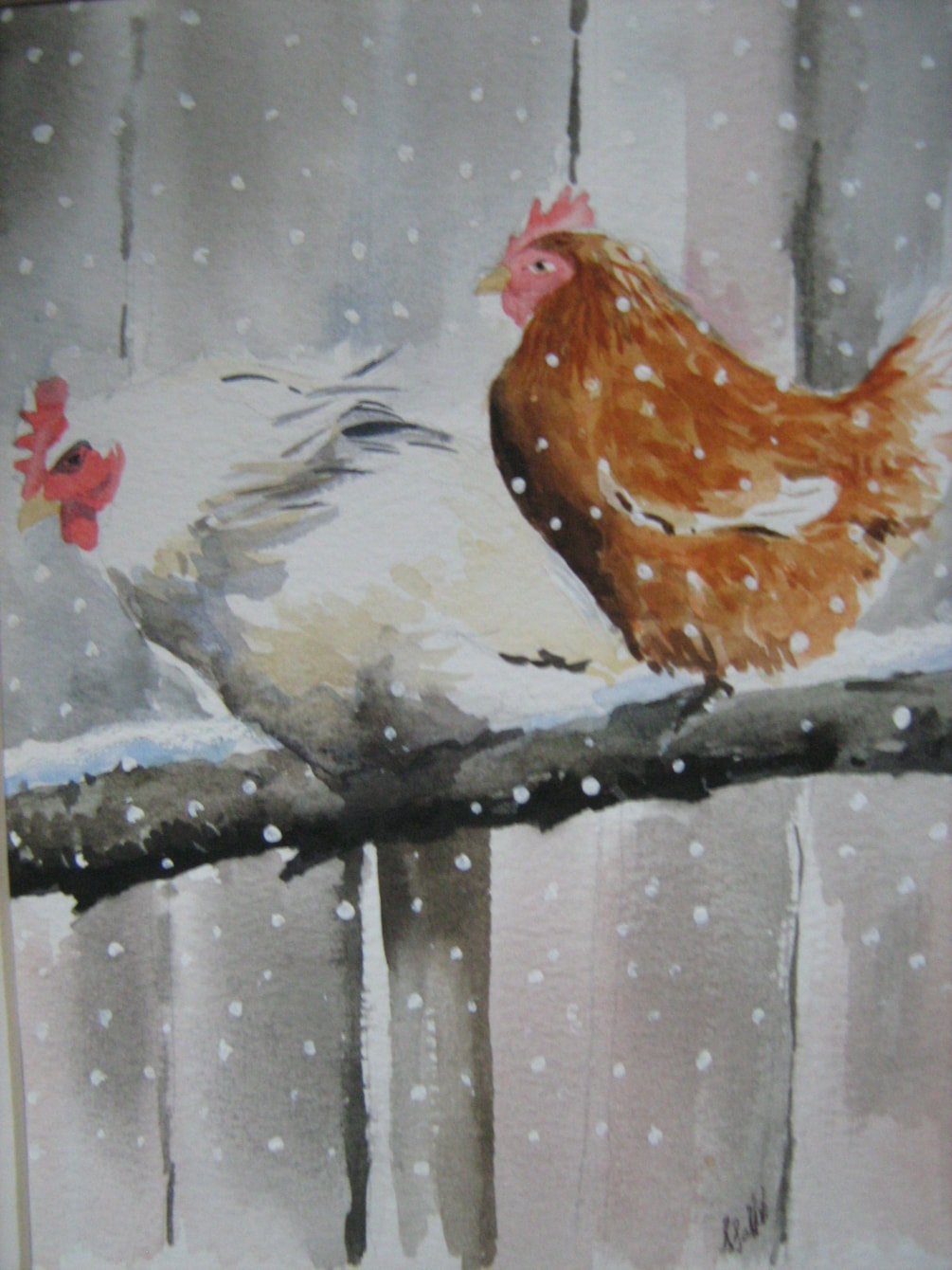 Chickens on perch in snow image only